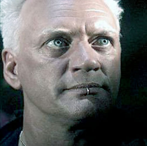 Isambard Prince (Nigel Bennett in LEXX) intense face closeup