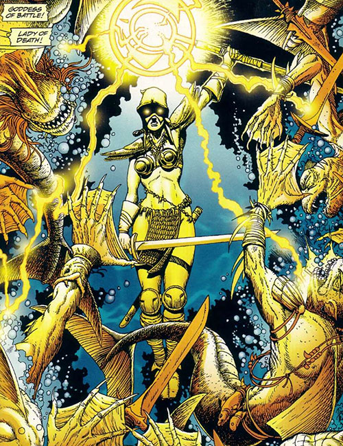 Istar of Babylon (JLA ally) (DC Comics) killing fish-men with lightning