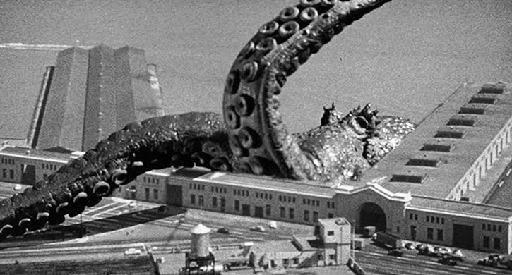 The giant octopus attacks a docks area
