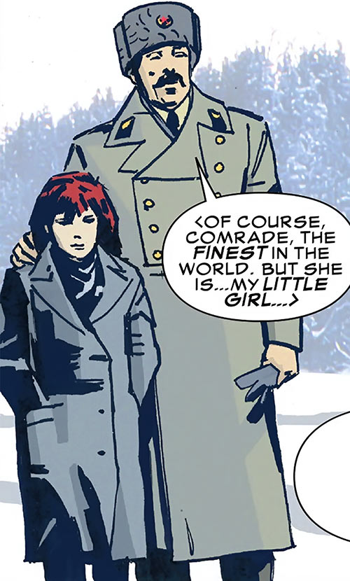 Ivan in uniform with the Black Widow as a child (Marvel Comics)
