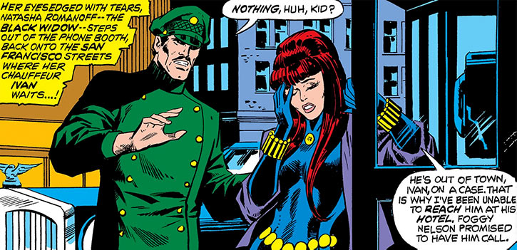 The Black Widow and her chauffeur Ivan Petrovitch in 1974 (Marvel Comics)