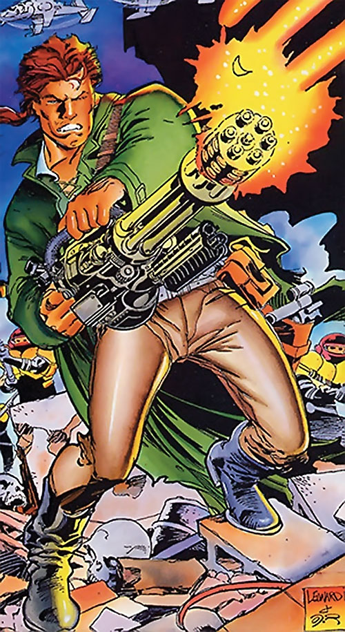 Ivar the Timewalker (1990s Valiant Comics) firing a gattling gun