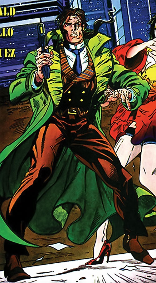 Ivar the Timewalker (1990s Valiant Comics) with a brown suit and energy pistol