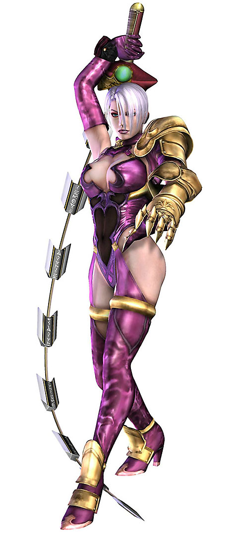 Ivy (Soul Calibur) readying a strike with her snake sword