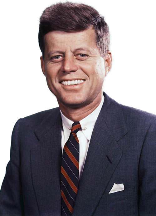 Colour photo of John Fitzgerald Kennedy as President, no background