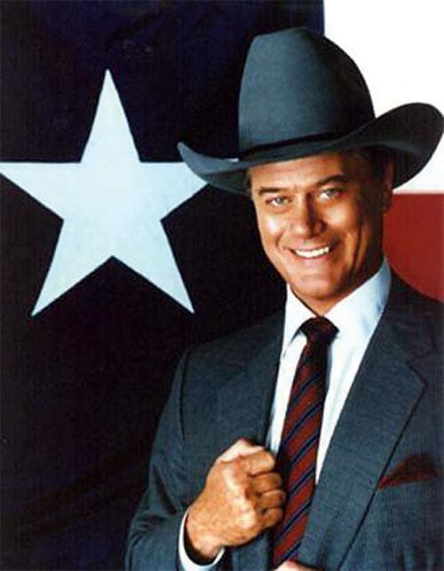 JR John Ross Ewing (Larry Hagman in Dallas) and a Lone Star flag