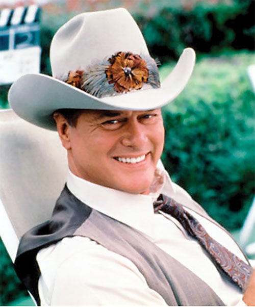 JR John Ross Ewing (Larry Hagman in Dallas) with a decorated cowboy hat