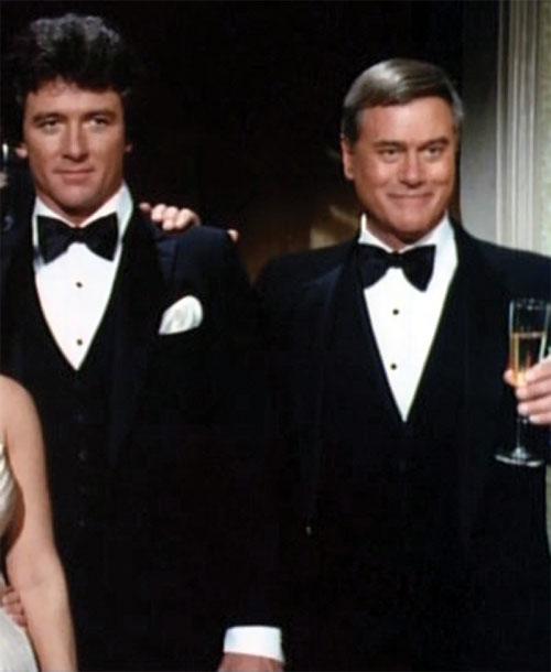JR John Ross Ewing (Larry Hagman in Dallas) in a tuxedo with Bobby