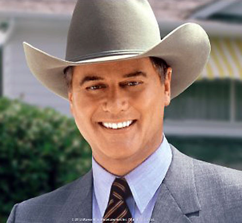 JR John Ross Ewing (Larry Hagman in Dallas) smiling with a hat