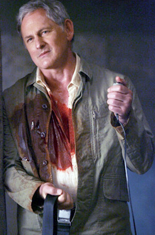Jack Bristow (Victor Garber in Alias) with a bloody jacket and shirt