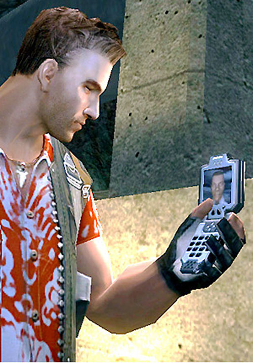Jack Carver (Far Cry) with a satellite phone