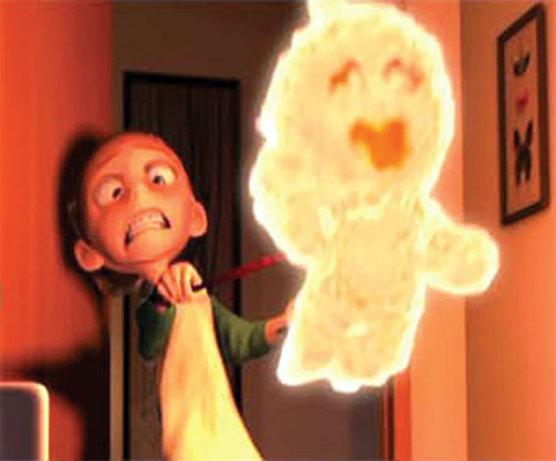 Jack-Jack (The Incredibles baby) burning and floating