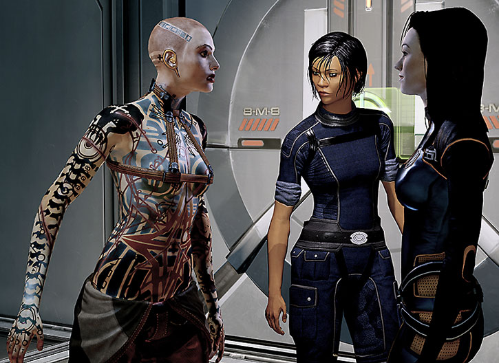 Jack, Commander Shepard and Miranda Lawson