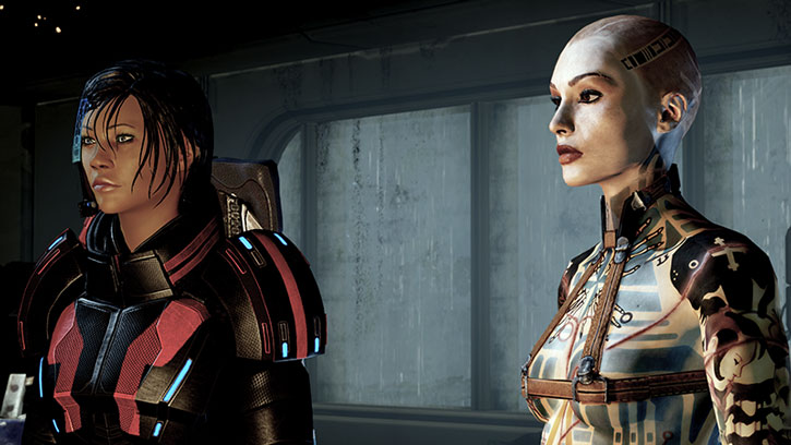 Jack and Commander Shepard looking through a window