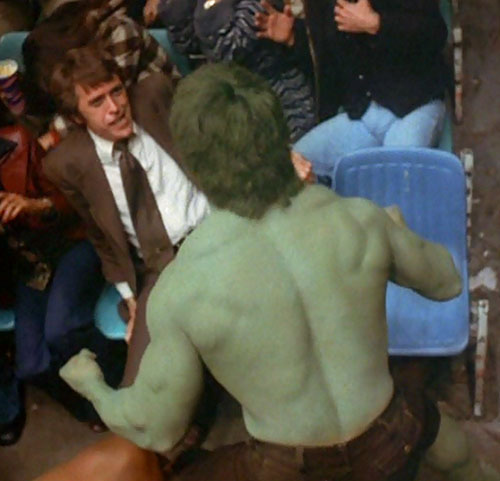 Jack McGee (Jack Colvin in The Incredible Hulk TV series) confronts the Hulk
