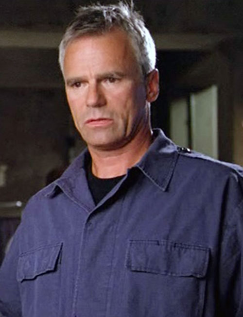 Jack O'Neill (Richard Dean Anderson in Stargate) in a blue jumpsuit