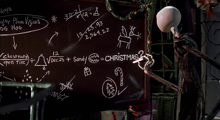 Jack Skellington researches the formula for Christmas