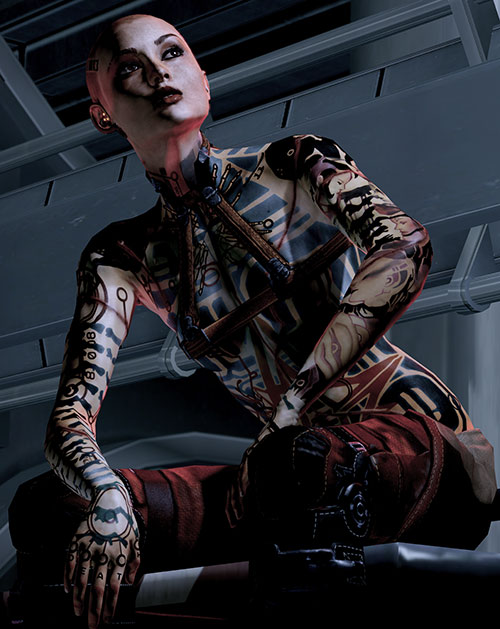 Jack Subject Zero (Mass Effect 2) sitting low angle shot