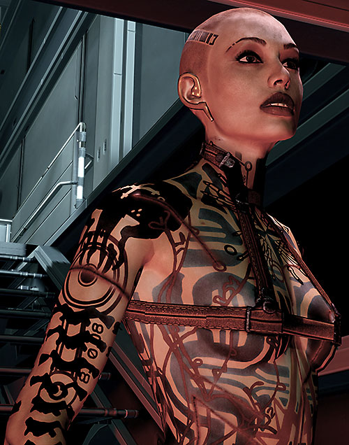 Jack Subject Zero (Mass Effect 2) breasts shoulders flanks tats