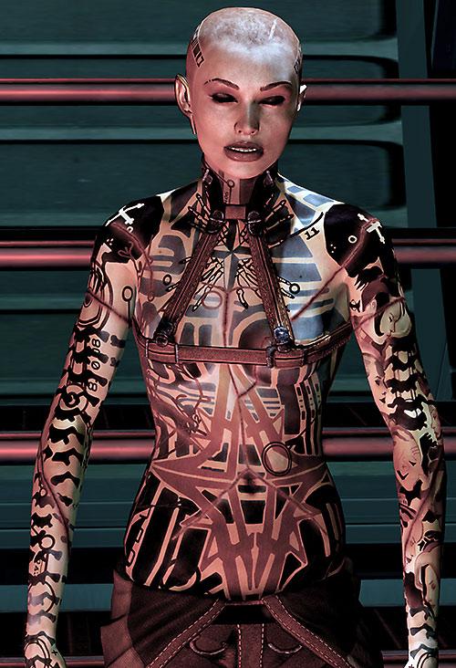 Jack Subject Zero (Mass Effect 2) eyes closed