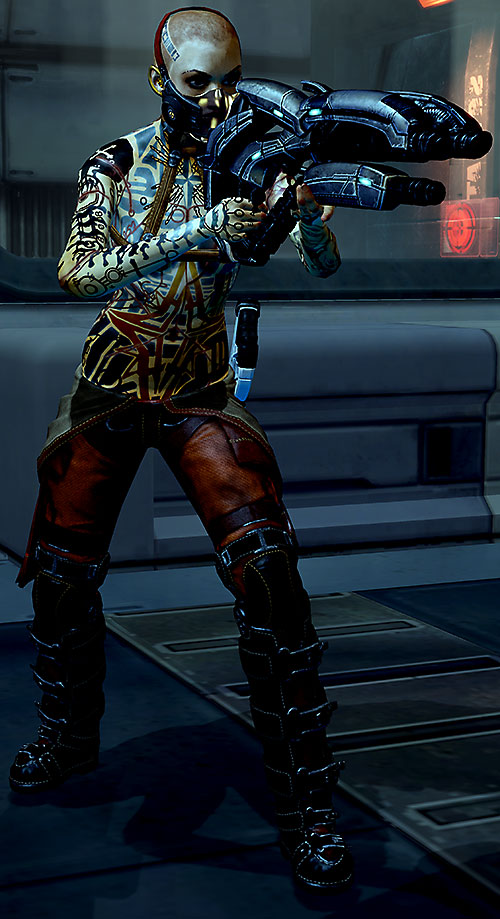Jack Subject Zero (Mass Effect 2) with rebreather, pointing a geth shotgun