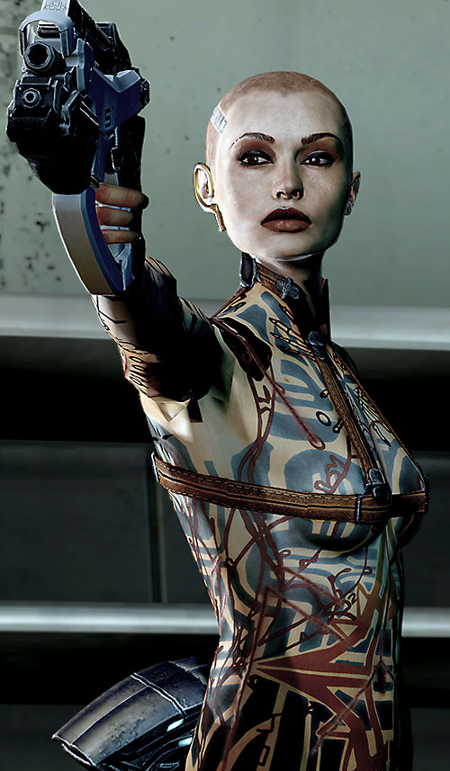 Jack Subject Zero (Mass Effect 2) pointing a pistol