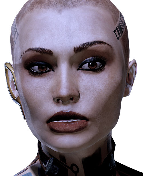 Jack Subject Zero (Mass Effect 2) high-res face closeup