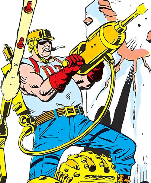 Jackhammer (DC Comics) (Demolition Team) raising his weapon