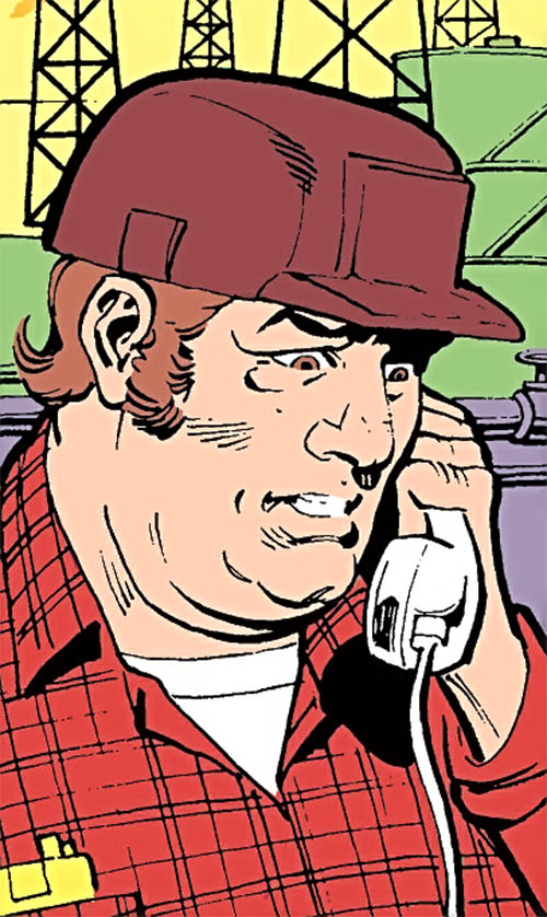Jackhammer (Demolition Team) (DC Comics) on the phone