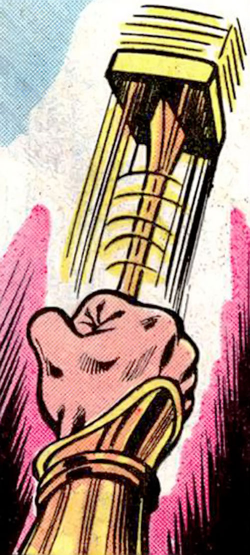 Jackhammer (Superman enemy) (DC Comics)'s weapon in action
