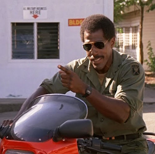 Jackson (Steve James in American Ninja) on his bike with sunglasses