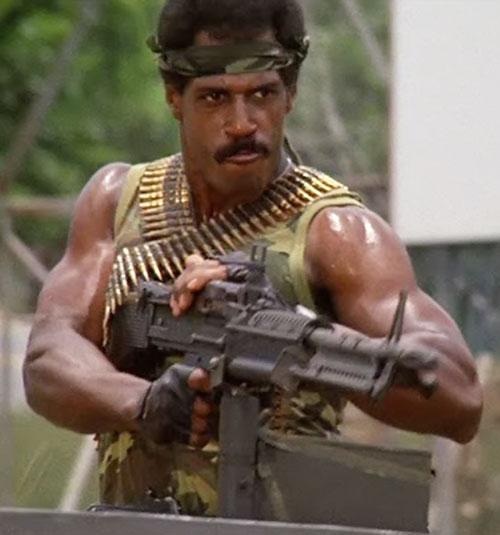 Jackson (Steve James in American Ninja) pulling a Rambo