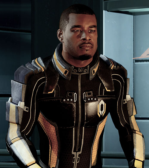 Jacob Taylor (Mass Effect) black and orange uniform