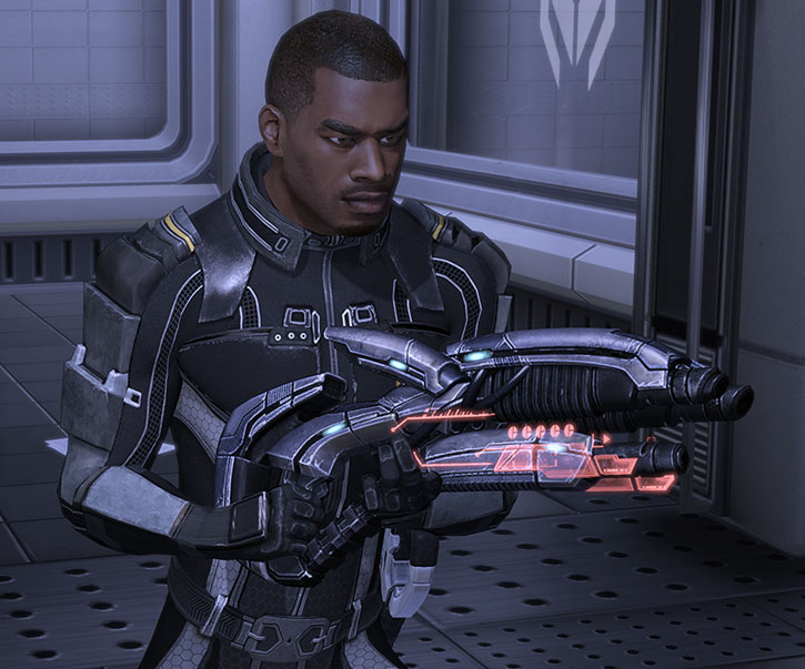 Jacob Taylor with an incendiary geth shotgun
