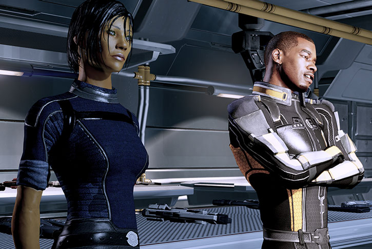 Jacod and Commander Shepard discuss in the armory