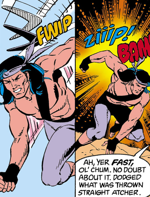 Jaculi of the Jihad (Suicide Squad enemy) (DC Comics) dodging Boomerangs