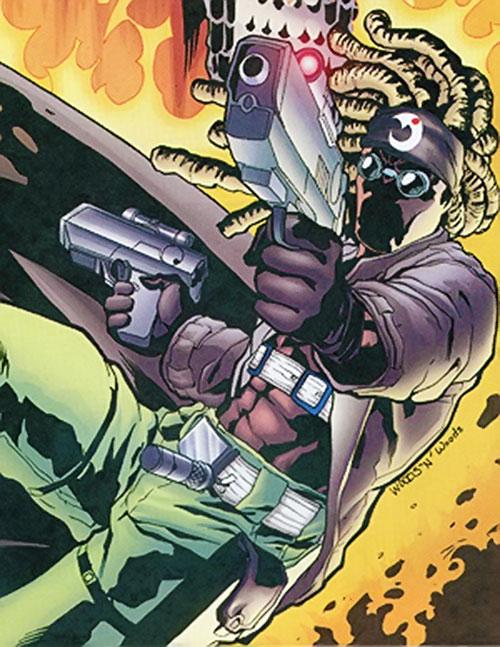 Jaeger (Robin enemy) (DC Comics) dual-wielding pistols