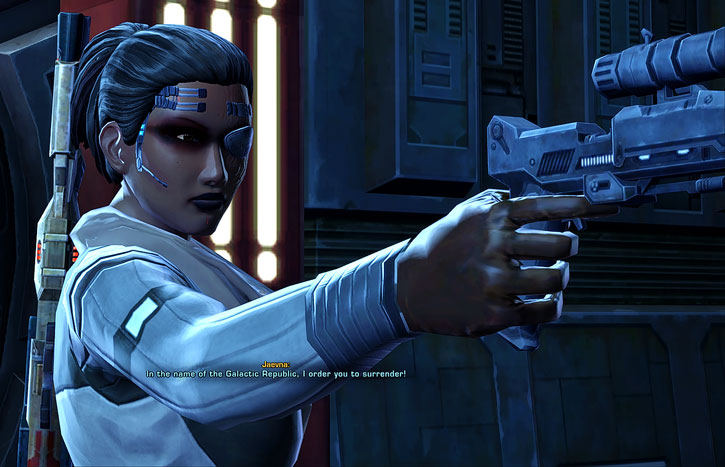 SWTOR - Star Wars the Old Republic- Cyborg republic trooper pointing blaster pistol
