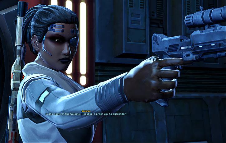 SWTOR - Star Wars the Old Republic- Cyborg republic trooper pointing blaster pistol