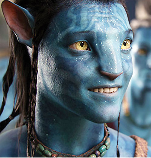 Jake Sully (Sam Worthington in Avatar) grinning blue body