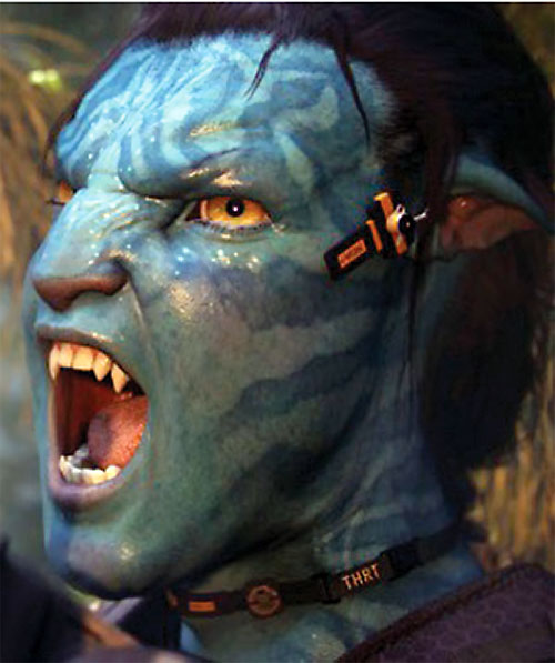 Jake Sully (Sam Worthington in Avatar) screaming blue body