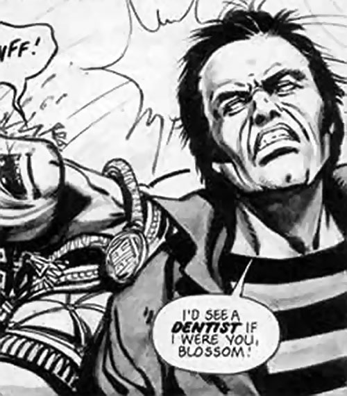 James Blocker from Timequake (2000AD Comics) doing a reverse headbutt