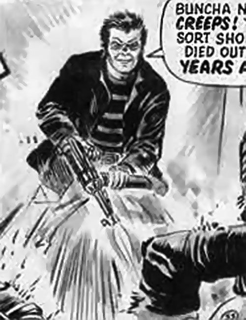 James Blocker from Timequake (2000AD Comics) firing a submachinegun