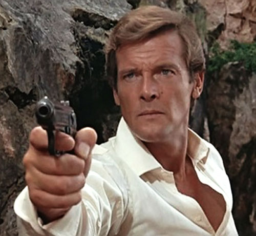 James Bond (Roger Moore) points a pistol