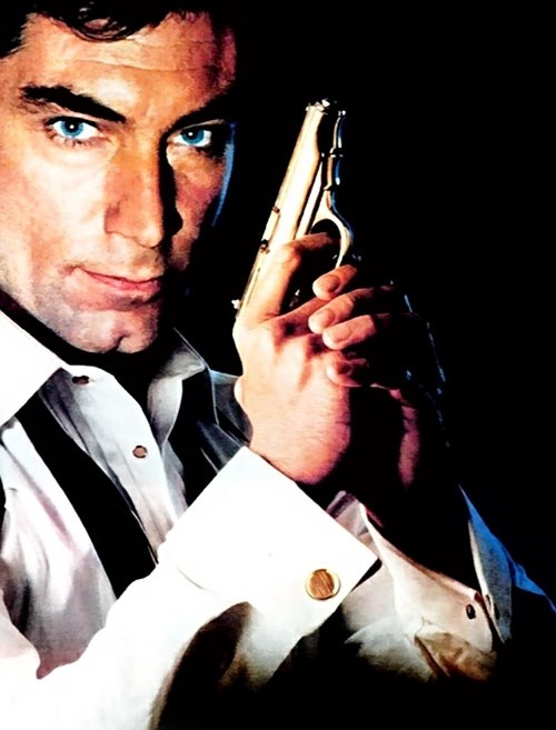 James Bond (Tim Dalton) with a pistol
