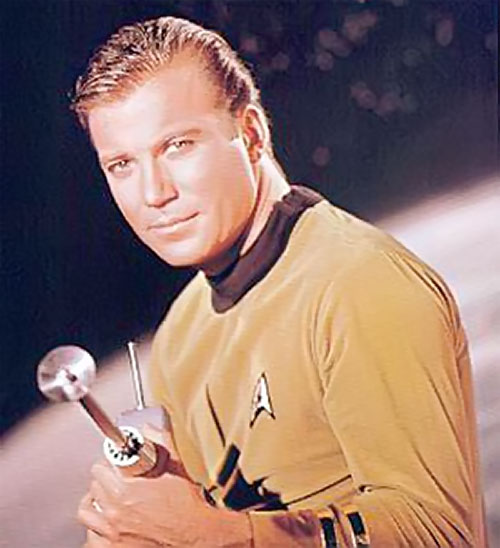 James Tiberius Kirk (William Shatner in Star Trek TOS) ready for action