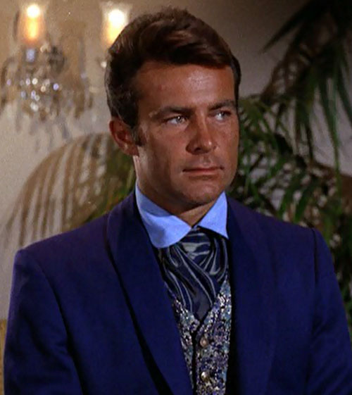 James West (Robert Conrad in Wild Wild West) near a candelabra