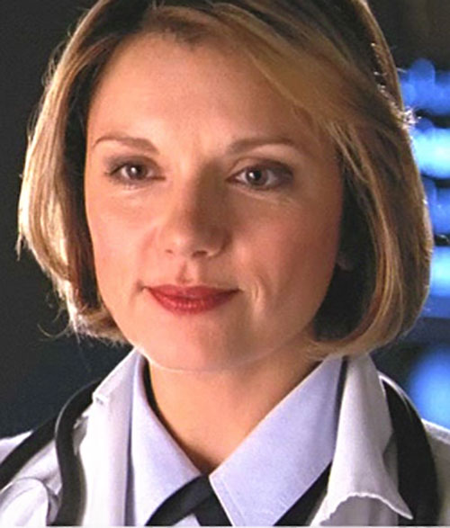 Major Janet Fraiser (Teryl Rothery in Stargate) face closeup with lab coat