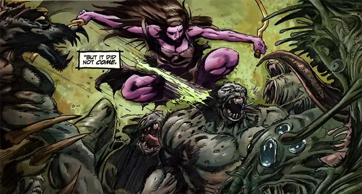 Janissa the Widowmaker fighting many demons