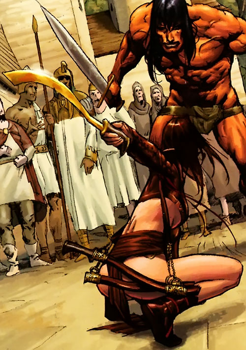 Janissa the Widowmaker (Conan ally) (Dark Horse Comics) duellign with Conan